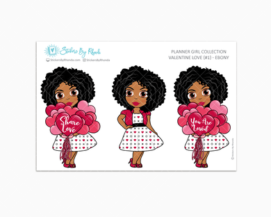 Ebony - Valentine Love  #1 - Limited Edition - Planner Girl Collection - Valentine's Day Stickers