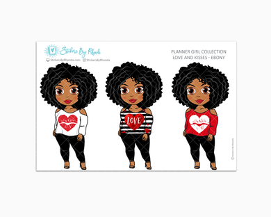 Ebony - Love and Kisses - Limited Edition - Planner Girl Collection - Valentine's Day Stickers