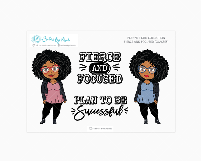 Ebony With Glasses - Fierce And Focused - Limited Edition - Planner Girl Collection