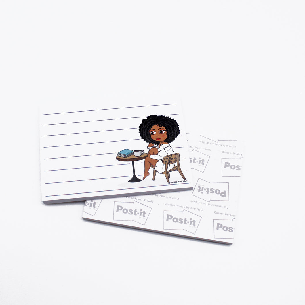 Ebony Chillaxing w/ Coffee Post-it® Notes - Sticky Notes