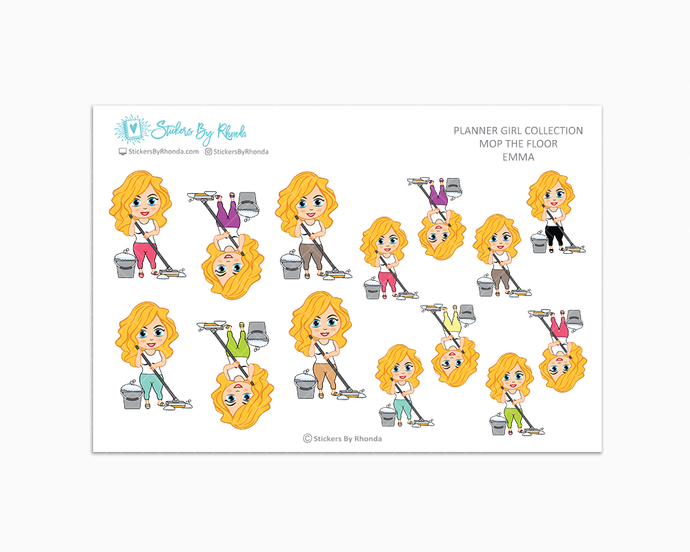 Emma - Mop The Floor - Cleaning Stickers - Planner Stickers