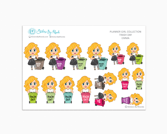 Emma  - Trash Day  - Take Out The Trash - Planner Stickers