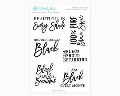 Black Empowerment Planner Stickers - Word Art Collection