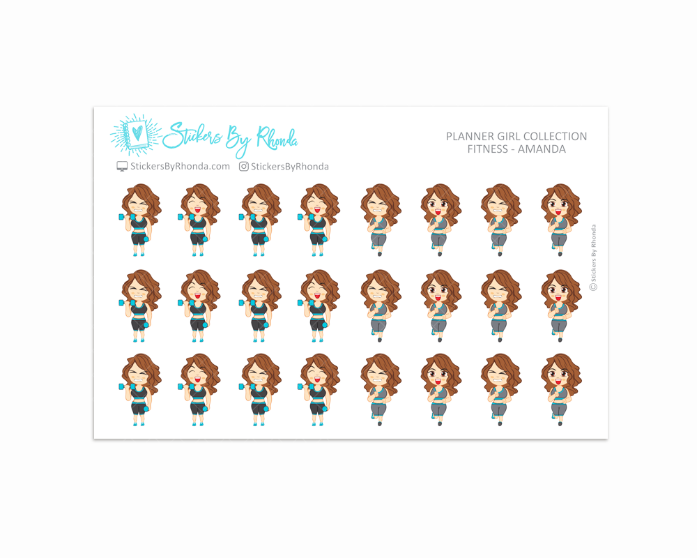Get Moving Fitness Planner Stickers - Amanda