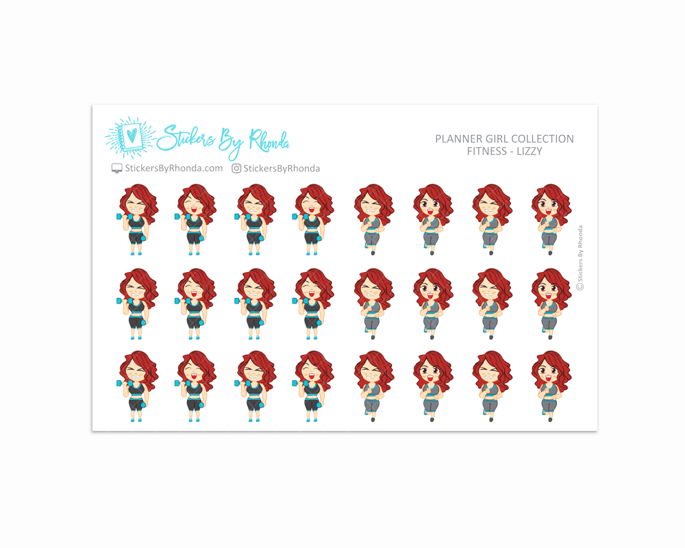 Get Moving Fitness Planner Stickers - Lizzy