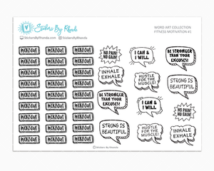 Fitness Motivation -  Workout - Exercise - Planner Stickers - Word Art Collection