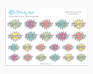 FRI-YAY Bursts - Planner Stickers - Word Art Collection