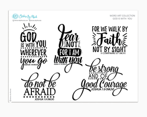 God Is With You - Bible Scripture Quote Planner Stickers - Word Art Collection