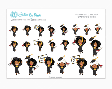 Graduation Planner Stickers Girls Only - Ebony
