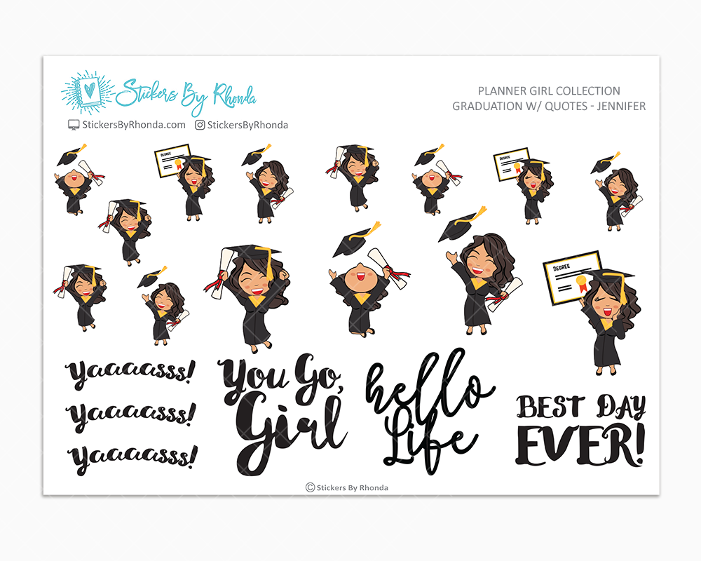 Graduation Planner Stickers w/ Quotes - Jennifer
