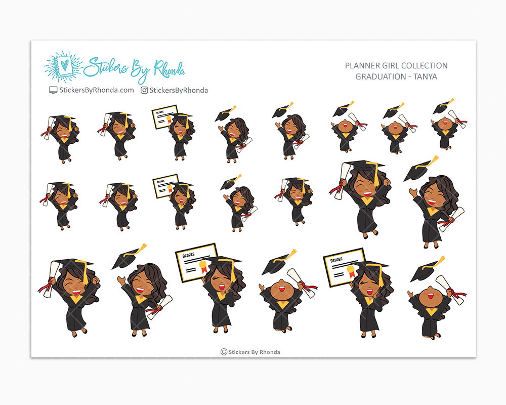 Graduation Planner Stickers Girls Only - Tanya