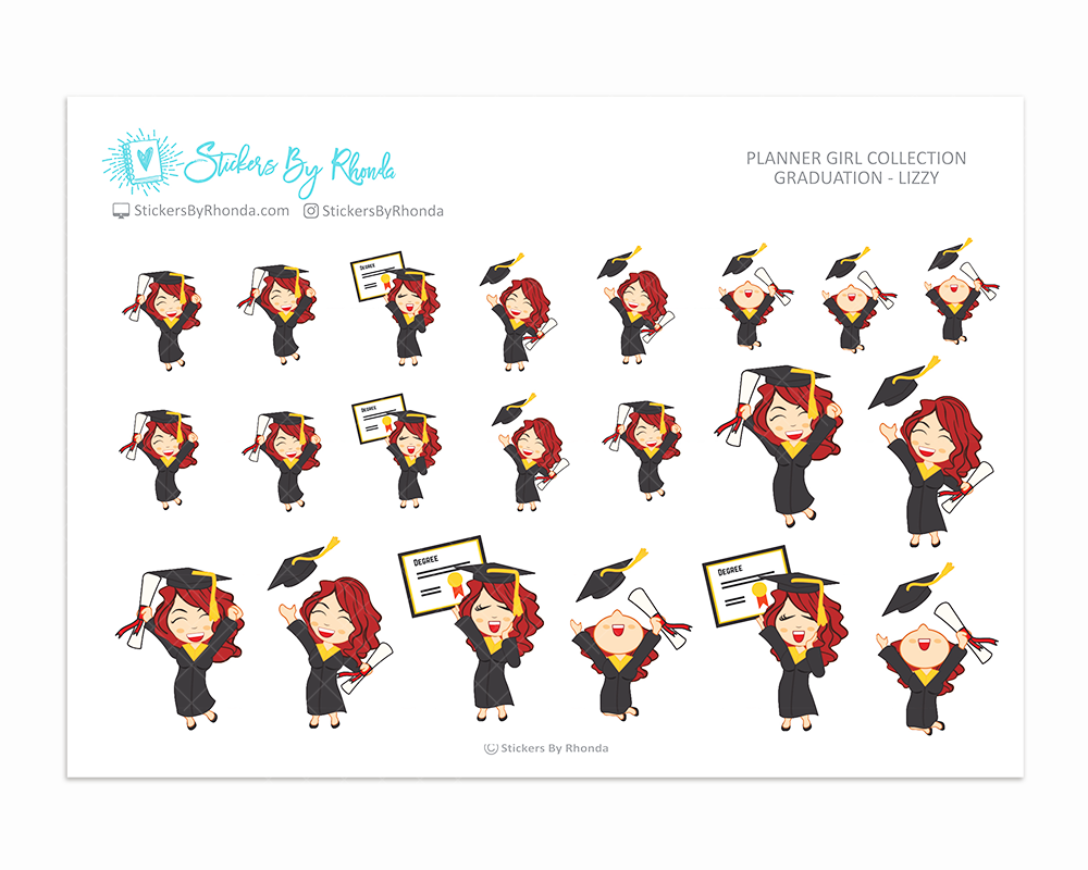 Graduation Planner Stickers Girls Only - Lizzy