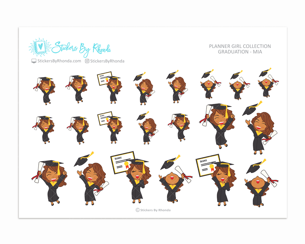 Graduation Planner Stickers Girls Only - Mia