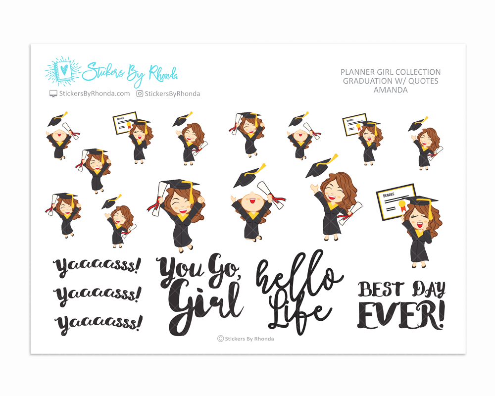 Graduation Planner Stickers w/ Quotes - Amanda