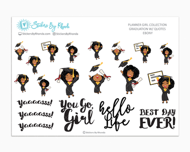 Graduation Planner Stickers w/ Quotes - Ebony