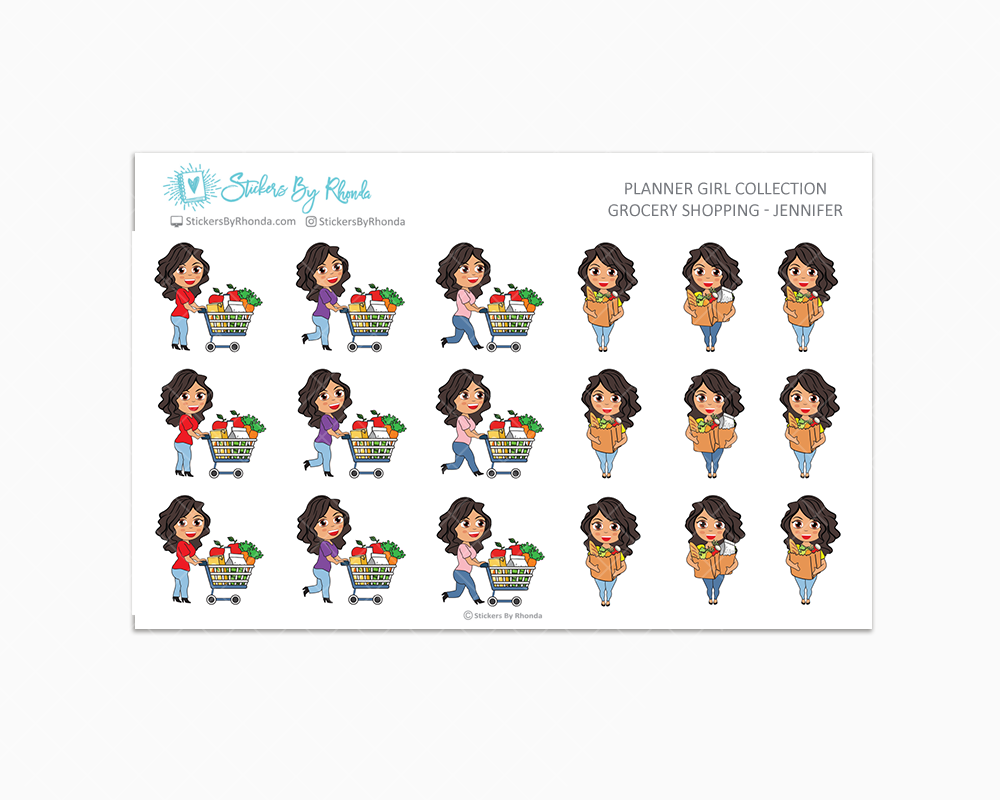 Grocery Shopping Planner Stickers  - Jennifer