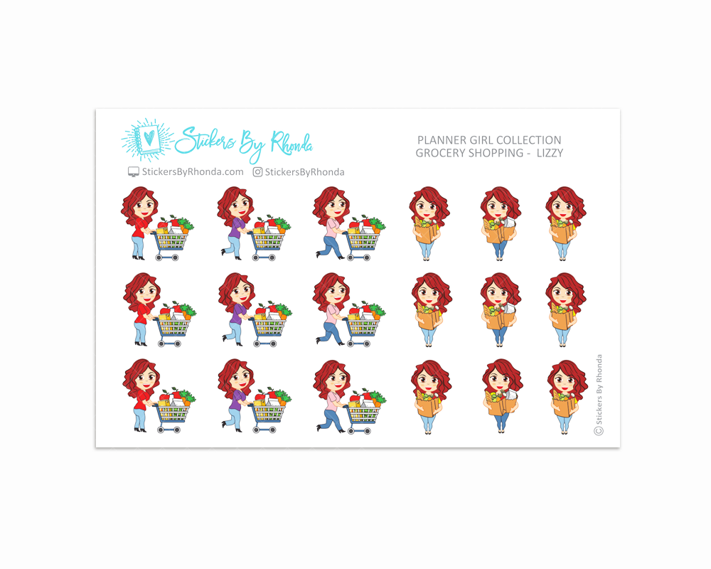 Grocery Shopping Planner Stickers - Lizzy