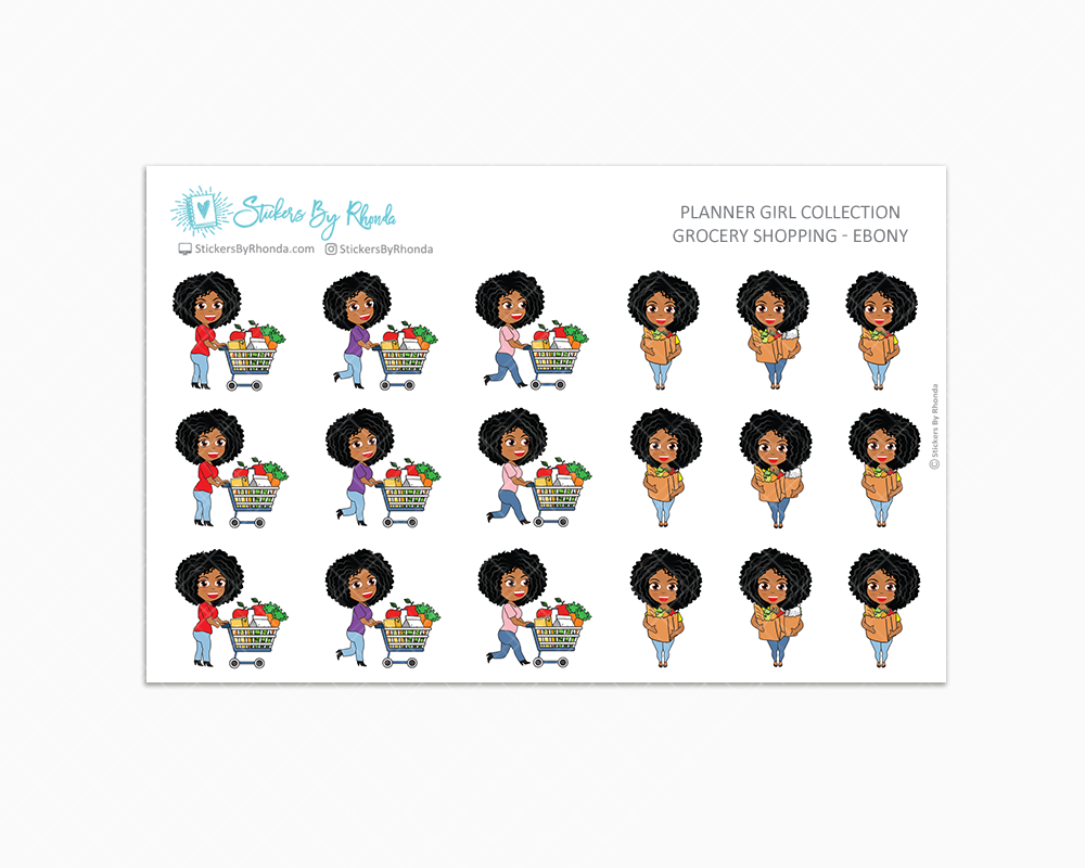 Grocery Shopping Planner Stickers  - Ebony