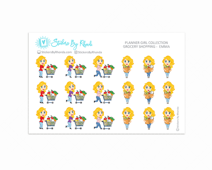 Grocery Shopping Planner Stickers - Emma