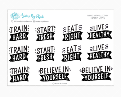 Healthy Living -  Fitness Planner Stickers - Word Art Collection