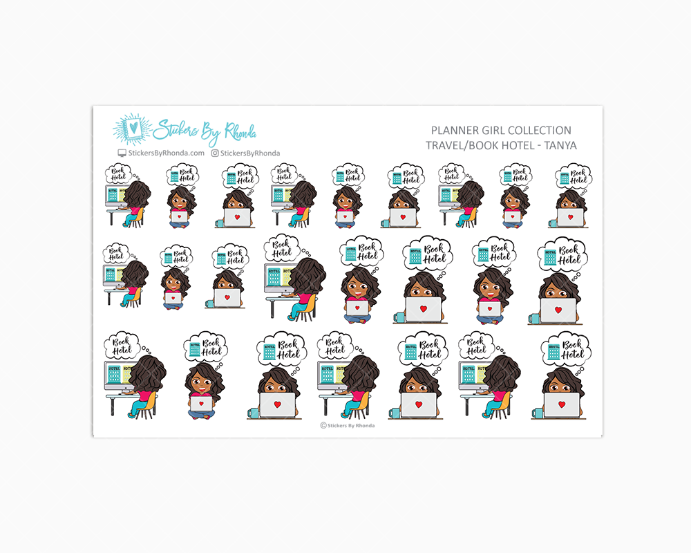 Travel/Book Hotel Planner Stickers - Tanya