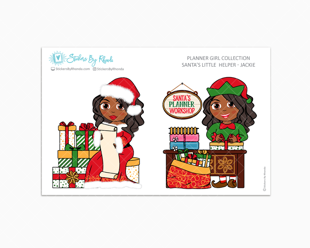 Jackie - Santa's Little Helper - Planner Girl Collection - Limited Edition - Christmas Stickers