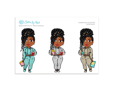 Jackie with Locs  - Movie Night - Limited Edition - Planner Girl Collection