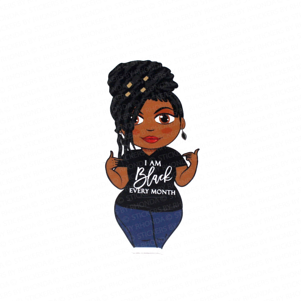 Vinyl Decal Sticker - Jackie With Locs -  Black Every Month - Large Clear Durable Vinyl Decal Sticker