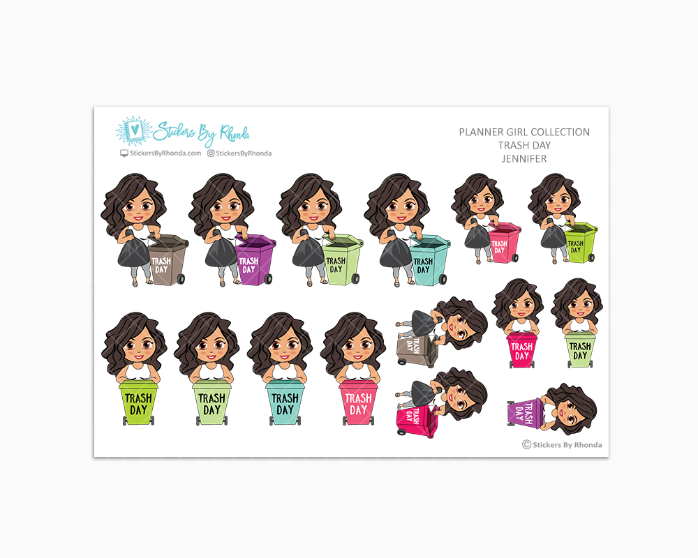 Jennifer  - Trash Day  - Take Out The Trash - Planner Stickers
