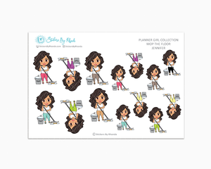 Jennifer - Mop The Floor - Cleaning Stickers - Planner Stickers