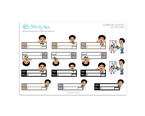 Jennifer With Sassy Cut - Bill Due Boxes Planner Stickers