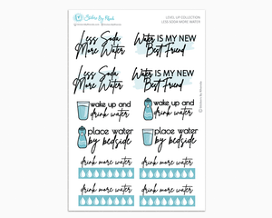 Less Soda More Water - Level Up Habit Planner Stickers