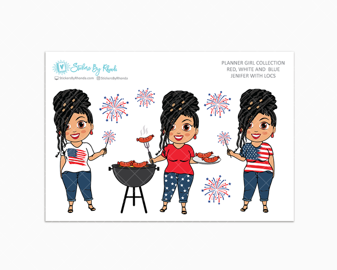 Jennifer With Locs - Red, White & Blue Glossy Stickers - Holiday Stickers - Planner Girl Collection - Planner Stickers