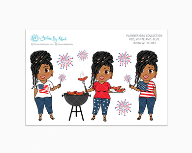Tanya With Locs - Red, White & Blue Glossy Stickers - Holiday Stickers - Planner Girl Collection - Planner Stickers