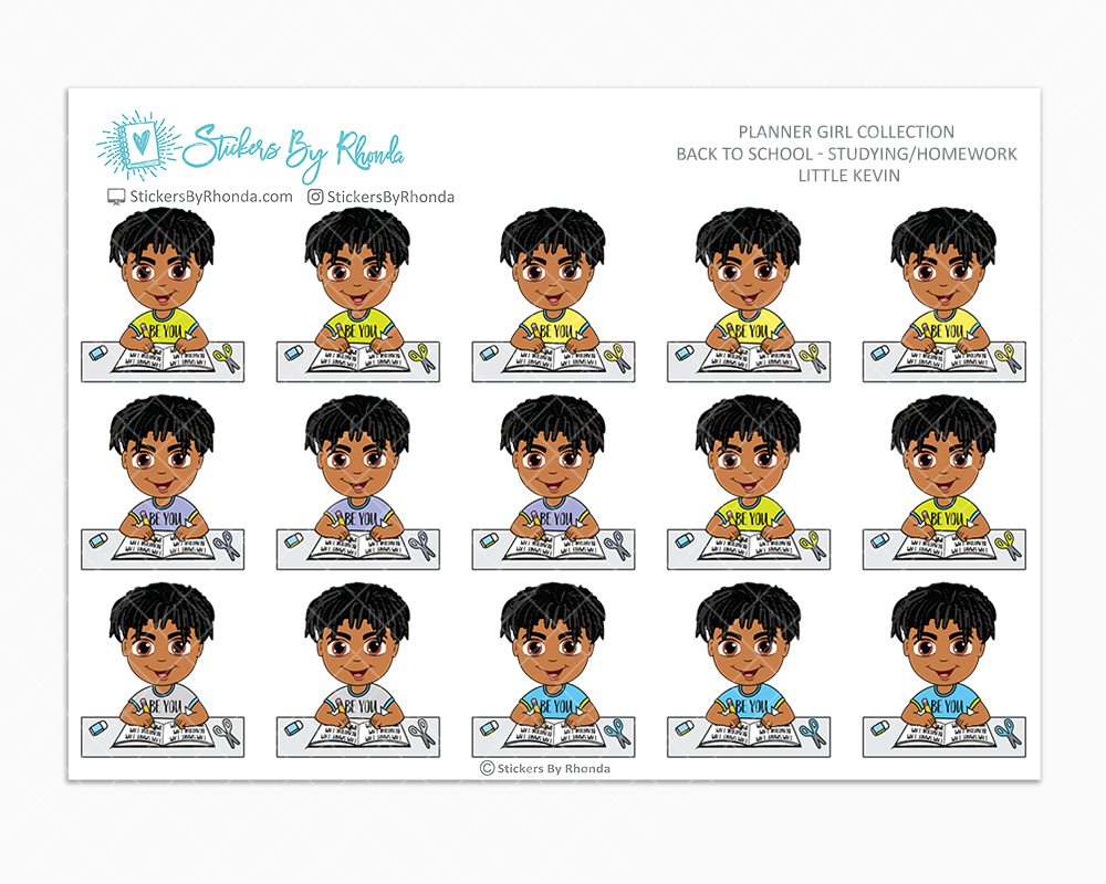 Little Kevin With Locs - Homework Study  - Back To School Stickers - Boy Stickers