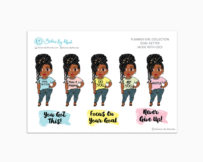 Jackie With Locs - Goal Getter - Limited Edition - Planner Girl Stickers