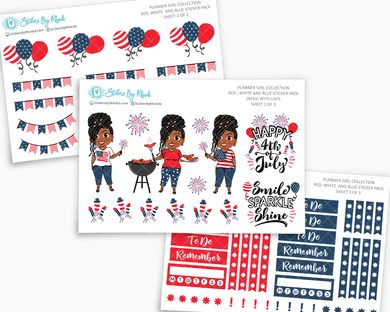 Jackie With Locs - Red, White & Blue Matte Planner Stickers - Planner Girl Collection - Plan Outside The Box Sticker Pack