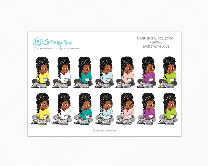 Jackie With Locs - Reading Planner Stickers - Me Time Planner Stickers