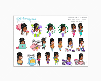 Jackie With Locs - Variety Sticker Sheet - Planner Stickers - Planner Girl Collection