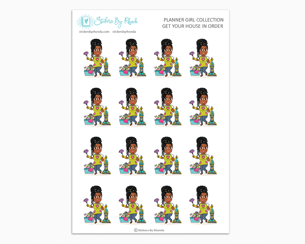 Jackie With Locs - Get Your House In Order - Planner Girls Only - Cleaning Stickers