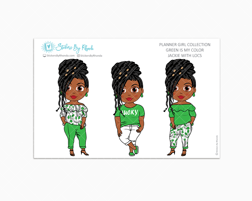 Jackie With Locs - Green Is My Color - Limited Edition - Planner Stickers