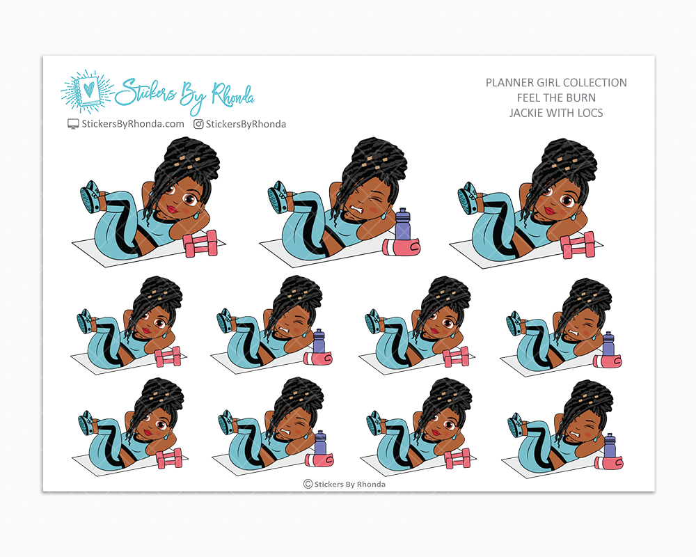 Jackie With Locs - Feel The Burn - Fitness Planner Stickers - Exercise Planner Stickers