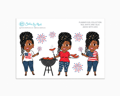 Jackie With Locs - Red, White & Blue Glossy Stickers - Holiday Stickers - Planner Girl Collection - Planner Stickers