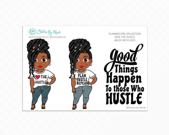 Jackie With Locs - Love The Hustle - Limited Edition - Planner Girl Stickers