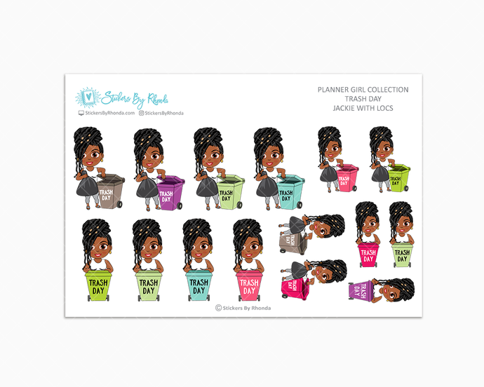 Jackie With Locs - Trash Day  - Take Out The Trash - Planner Stickers