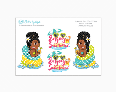 Jackie With Locs - Enjoy Summer Glossy Stickers - Limited Edition - Planner Girl Collection - Planner Stickers