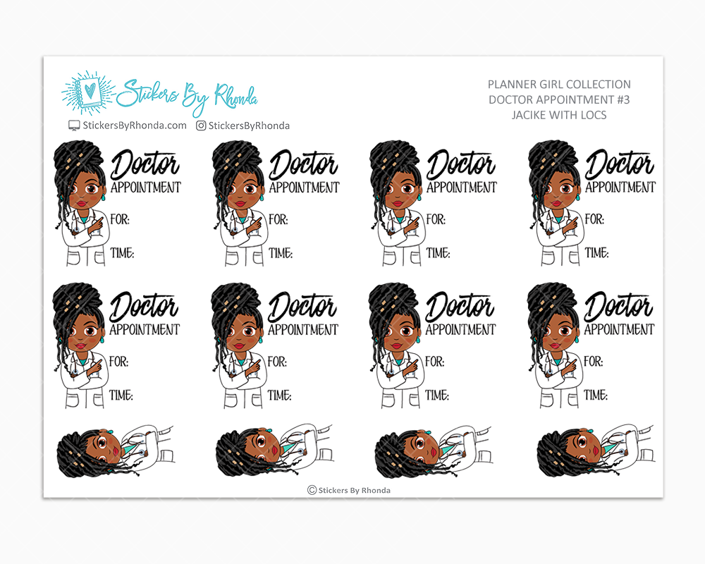 Jackie With Locs - Doctor Appointment #3 - Medical Planner Stickers