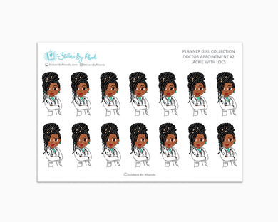 Jackie With Locs - Doctor Appointment #2 - Medical Planner Stickers