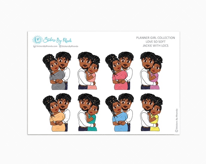 Jackie With Locs - Love So Soft - Planner Stickers