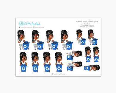 Jackie With Locs - Recycle - Planner Stickers
